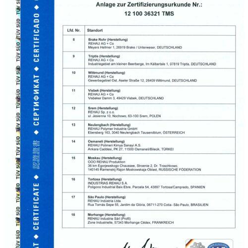 Сертификат соответствия ISO 9001 профиля REHAU